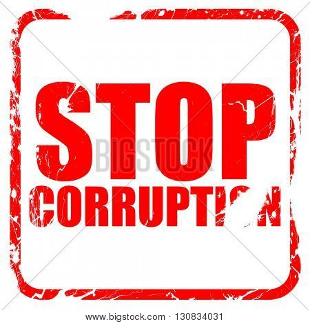 stop corruption, red rubber stamp with grunge edges