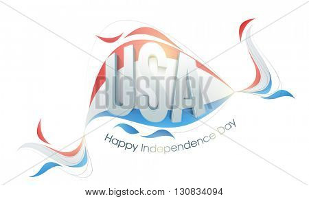 Glossy 3D Text U.S.A on American Flag colors abstract design for Happy Independence Day celebration.