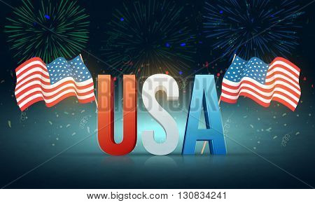 Glossy 3D Text U.S.A with waving American Flags on beautiful fireworks background for 4th of July, Independence Day celebration.