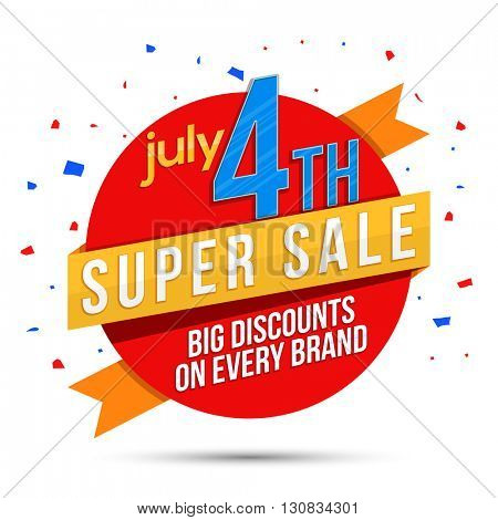 Super Sale Paper Ribbon for July 4th, American Independence Day celebration.