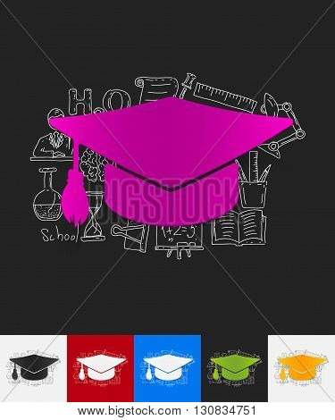 hand drawn simple elements with Graduation paper sticker shadow