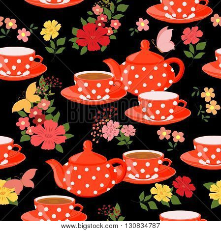 Seamless pattern with teapots, cups and butterflies.