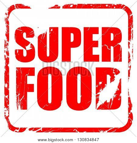 super food, red rubber stamp with grunge edges