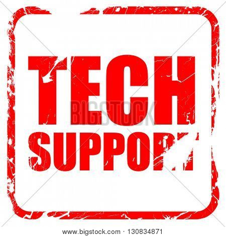 tech support, red rubber stamp with grunge edges