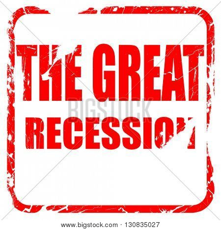 Recession sign background, red rubber stamp with grunge edges