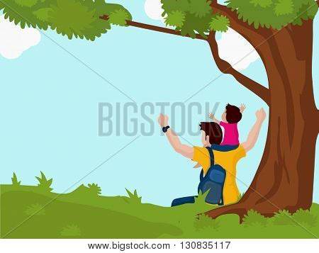 Cute boy sitting on his father's shoulder on beautiful nature background for Happy Father's Day celebration.