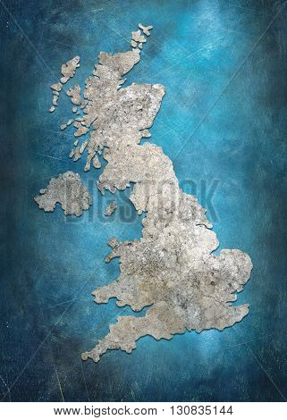 Map of United Kingdom in blue tones.