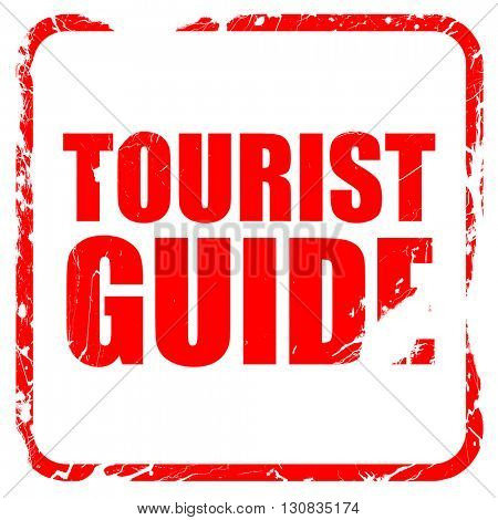 tourist guide, red rubber stamp with grunge edges