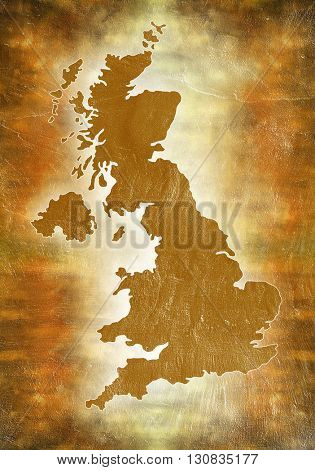 Map of United Kingdom. Gold map.