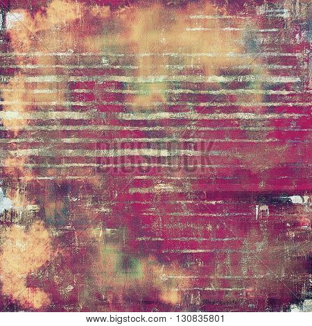Aged grunge graphic background with shabby texture in vintage style and different color patterns: yellow (beige); brown; green; red (orange); purple (violet); pink