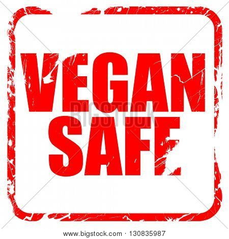 vegan safe, red rubber stamp with grunge edges