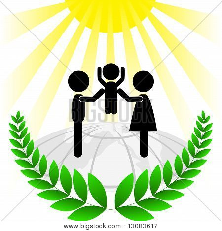 Silhouette Of A Family In A Green Frame