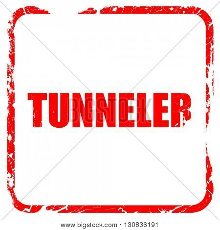 tunnels, red rubber stamp with grunge edges