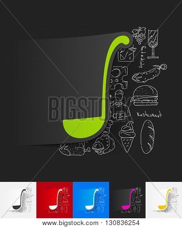 hand drawn simple elements with ladle paper sticker shadow
