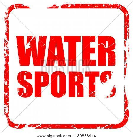water sports, red rubber stamp with grunge edges
