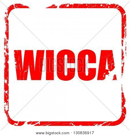wicca, red rubber stamp with grunge edges