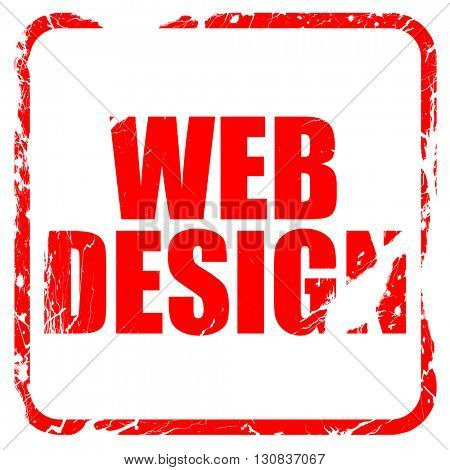 web design, red rubber stamp with grunge edges