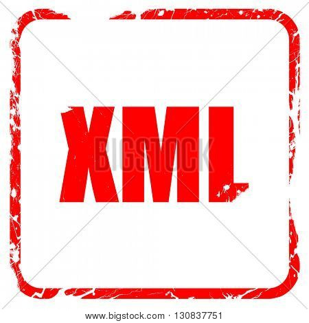 xml, red rubber stamp with grunge edges