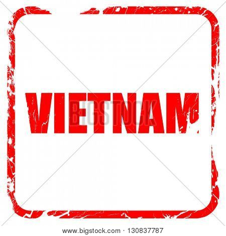 vietnam, red rubber stamp with grunge edges