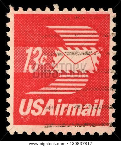 ZAGREB, CROATIA - SEPTEMBER 03: A stamp printed in United States of America shows envelope with wings, Airmail, circa 1973, on September 03, 2014, Zagreb, Croatia