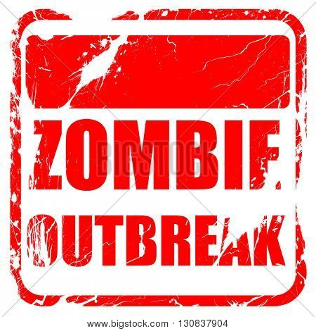 zombie virus concept background, red rubber stamp with grunge ed