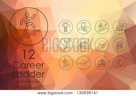 career ladder modern icons for mobile interface on blurred background