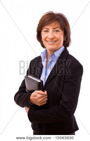 Happy senior businesswoman isolated on white background.
