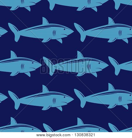 Seamless pattern with shark in water. Vector illustration.