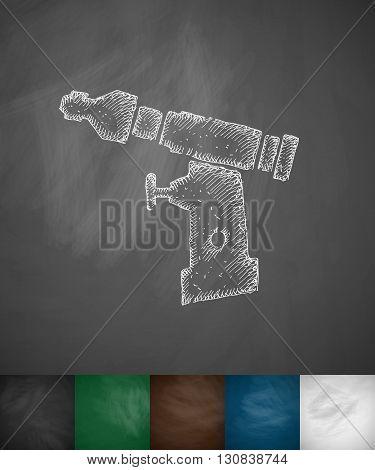 orthopedic drill icon. Hand drawn vector illustration. Chalkboard Design