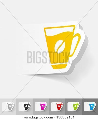 cup of coffee paper sticker with shadow. Vector illustration