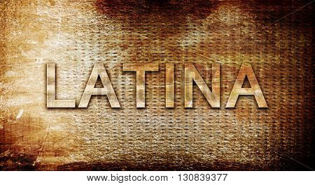 Latina, 3D rendering, text on a metal background
