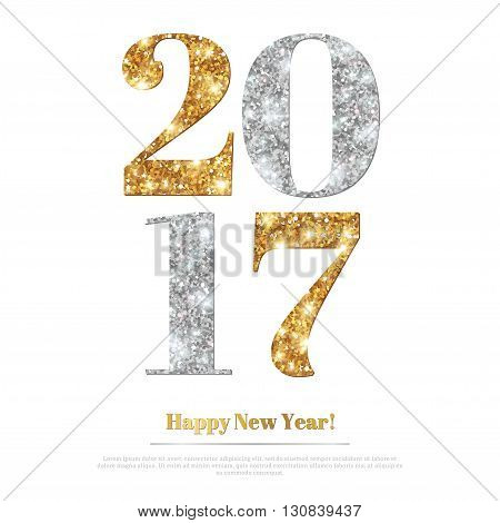 Happy New Year 2017 Greeting Card with Gold and Silver Numbers. Vector Illustration. Merry Christmas Flyer Design, Brochure Cover, Poster. Minimalistic Invitation Design.