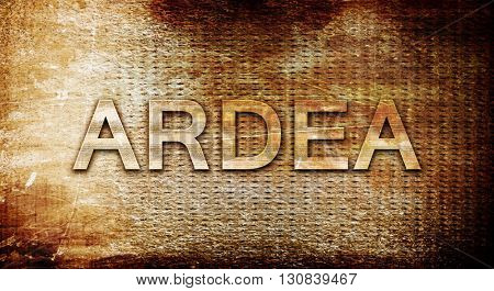Ardea, 3D rendering, text on a metal background