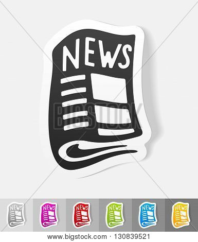 newspaper paper sticker with shadow. Vector illustration