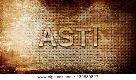 Asti, 3D rendering, text on a metal background