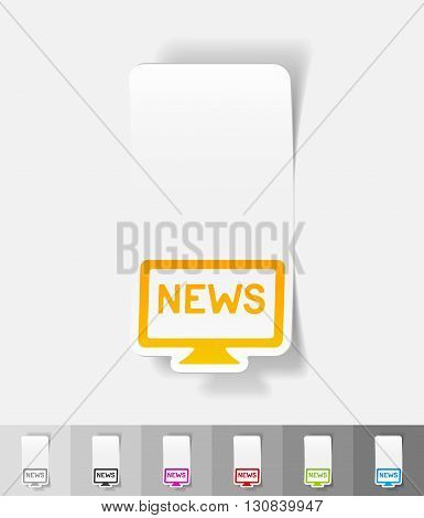 news paper sticker with shadow. Vector illustration