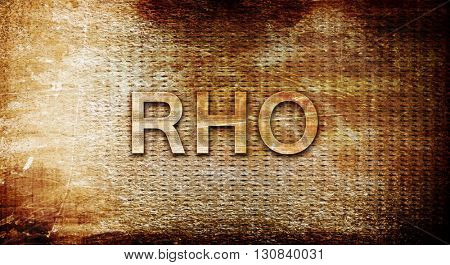 Rho, 3D rendering, text on a metal background