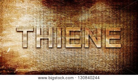 Thiene, 3D rendering, text on a metal background