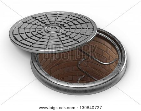 Manhole cover lid. 3D render illustration isolated on white background