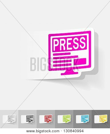 PRESS paper sticker with shadow. Vector illustration