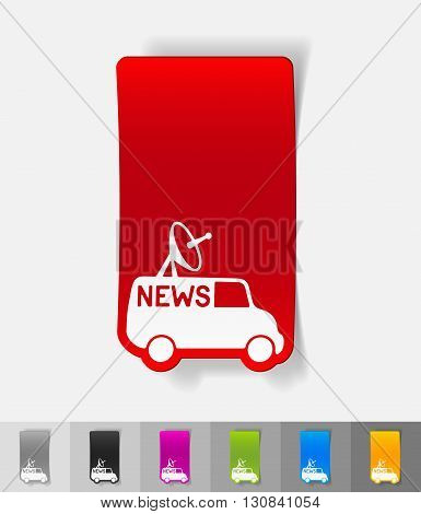 news van paper sticker with shadow. Vector illustration