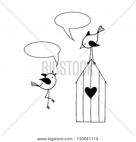 Two birds are talking on a white background. Vector illustration.