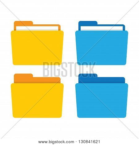 Folder icon. Folder vector illustration. File folder in flat style. Folder for documents. Folder isolated from background. Folder icon flat. Office folder.