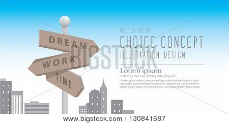 Illustration vector banner guidepost in the big city with buildings metaphor of decision. make something about dream and work.