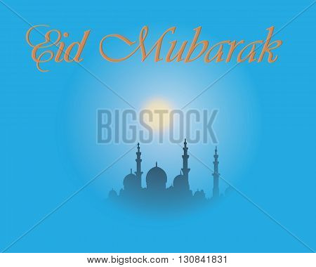 Creative greeting card design for holy month of muslim community festival Eid Mubarak with moon and hanging lantern and stars on blue background.