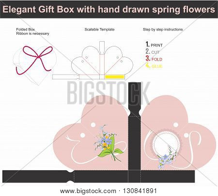 Vector template for present box in heart spahe with spring fllowers