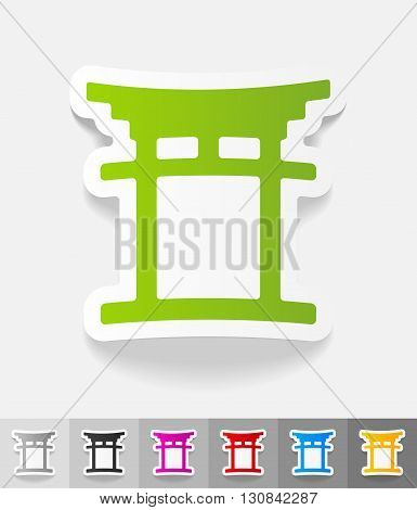 japanese arch paper sticker with shadow. Vector illustration