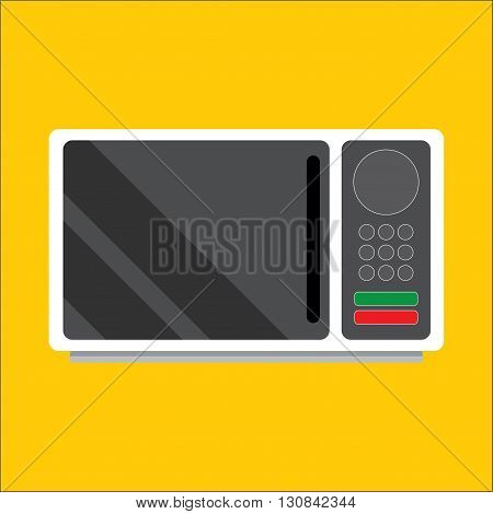 Modern microwave. Front view. Metal and glass Vector Image. Realistically. Isolated on white background.