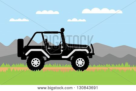 SUV rides on off-road trail background of mountains. Active outdoor recreation with family. car. Vehicle SUV. Beautiful landscape. vector car. flat design 4WD car illustration