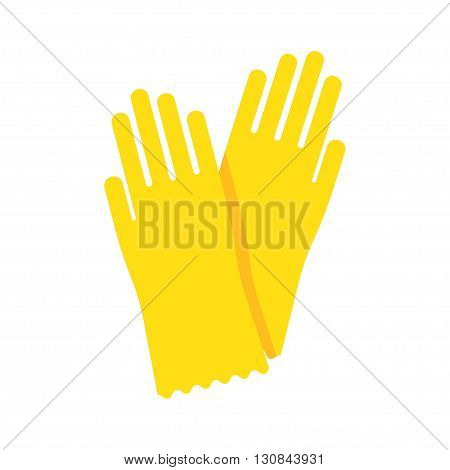Yellow glove for hygiene cleaning and yellow rubber glove wash work protection. Rubber yellow gloves cartoon flat icon vector illustration.